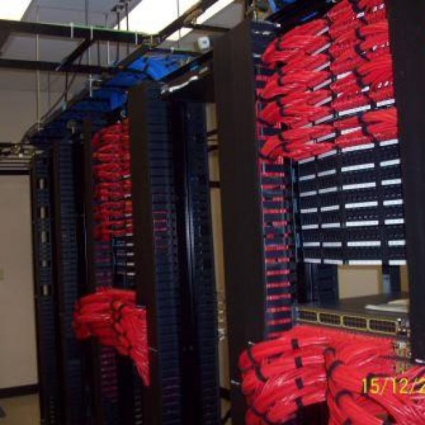 Network cables neatly organized into racks.